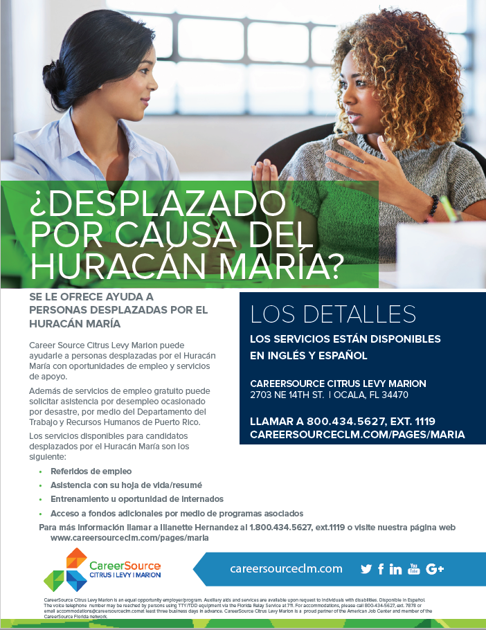 CareerSource CLM Maria Flyer in Spanish